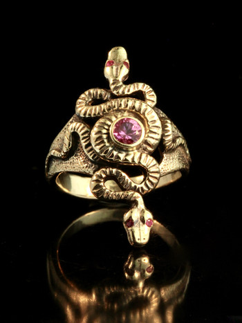 Alpha Omega Snake Ring with Pink Sapphire - 14K gold