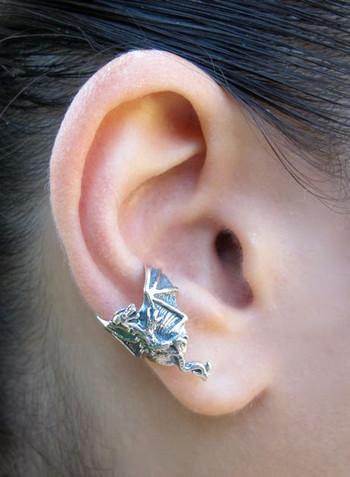 Dragon Ear Chevron Cuff in Silver