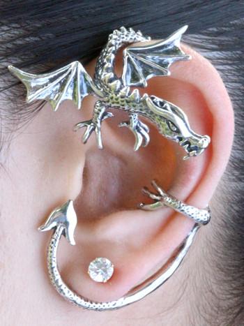 Guardian Dragon Ear Wrap in Silver