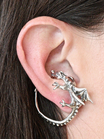 Dragon Whisperer Ear Cuff Hoop Silver
