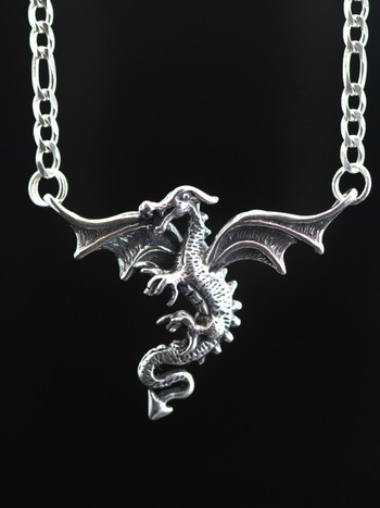 Dragon In Flight with Figaro chain - Silver