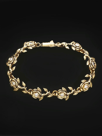 Gold Rose Bracelet 8 Links with Diamonds in 14k Gold