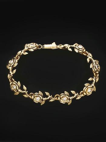 Gold Rose Bracelet 8 Links with Diamonds in 14k Gold