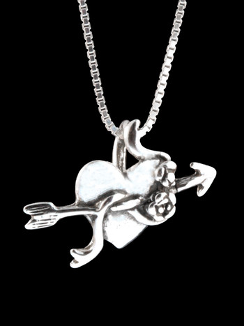 Victorian Heart with Rose and Arrow Charm