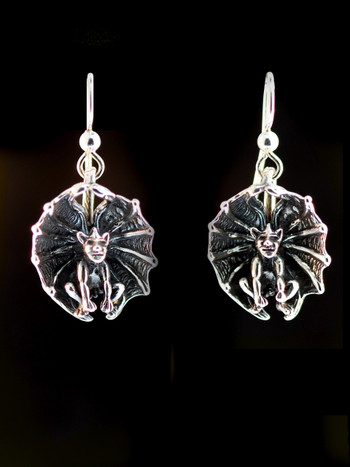Gothic Gargoyle Earrings - Silver