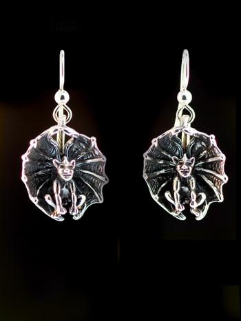 Gargoyle - Cupped Winged Gargoyle Earrings - Silver