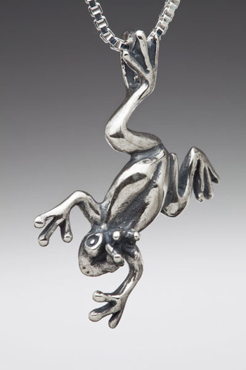 Medium Enchanted Frog Pendant - Silver