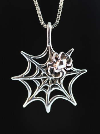 Spider Web Charm - Silver