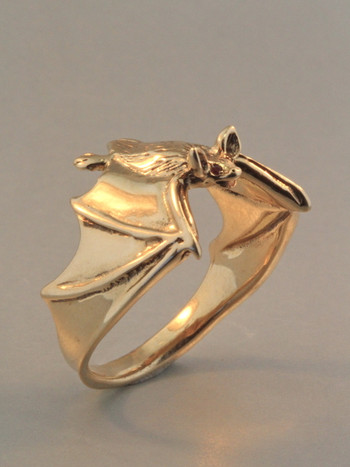 Classic Bat Ring with Ruby Eyes - 14k Gold