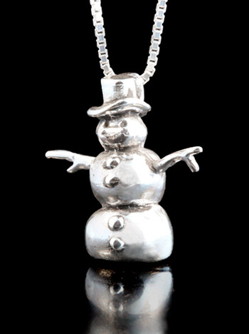 Christmas Snowman Charm in Silver