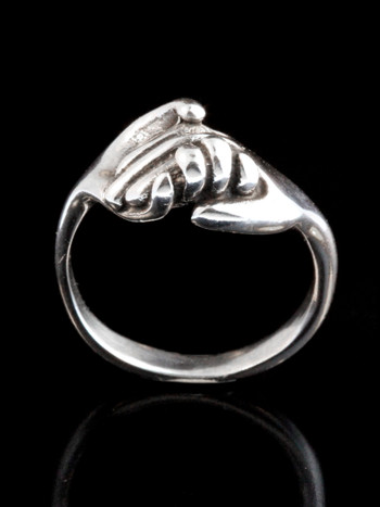 Hands Clasping Ring Silver