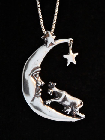 Cow Jumping Over the Moon Charm Pendant