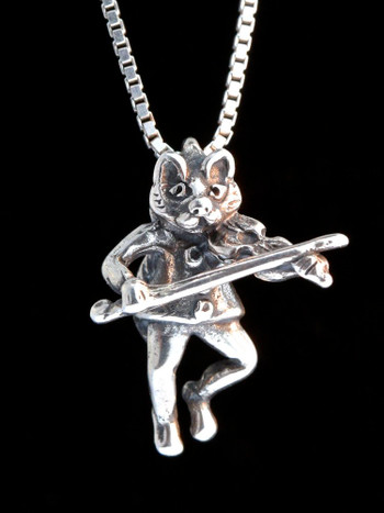 Mother Goose - Cat And The Fiddle Charm - Silver