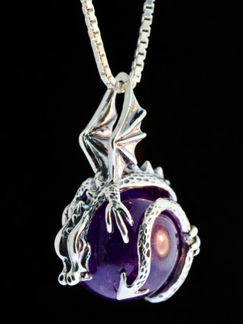 Dragon Orb Pendant with Amethyst Orb- Silver