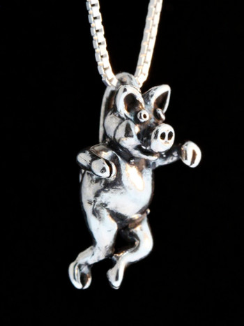 Three Little Pigs -  Left Jig Pig Charm - Silver