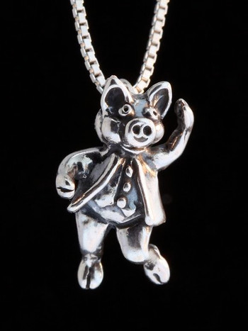 Three Little Pigs -  Stepping Out Pig Charm - Silver