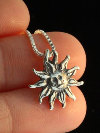 Celestial - Small Sun Charm - Silver