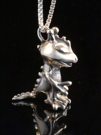 Alien Reptile Charm - Silver