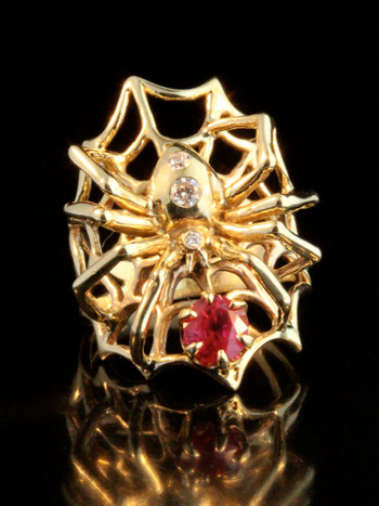 Spider Ring with Ruby and Diamonds - 14k Gold