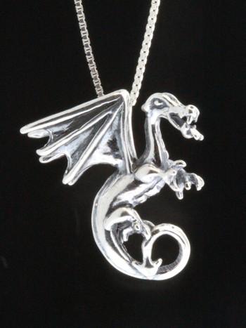 Fire Dragon Pendant - Silver