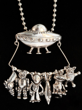 Ultimate Flying Saucer U.F.O. Charm Collection - Silver
