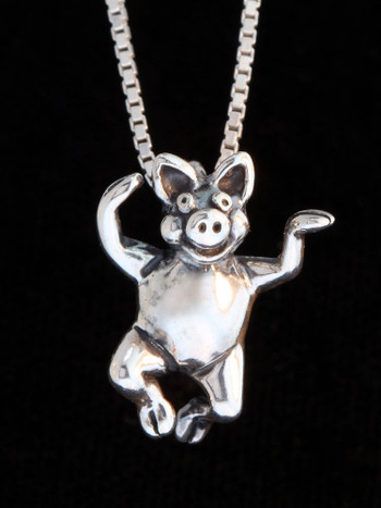 Three Little Pigs - Hands Up Pig Charm - Silver