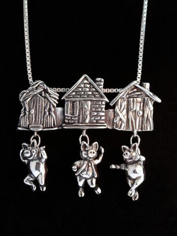 Three Little Pigs Pendant - Silver
