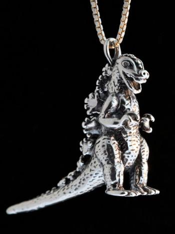 Godzilla Pendant - Silver