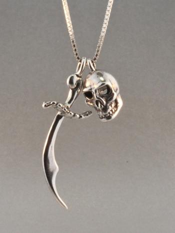 Pirate - Skull & Scimitar Charm Combo - Silver