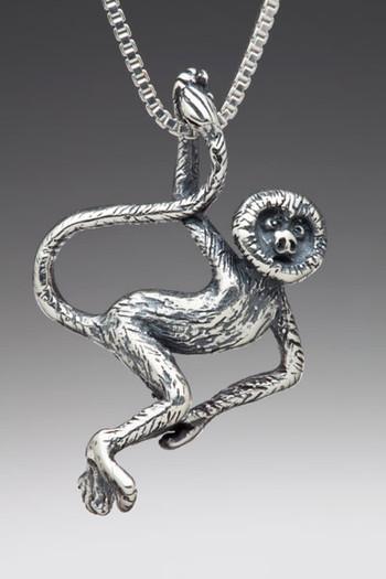 Rainforest Spider Monkey Charm - Silver