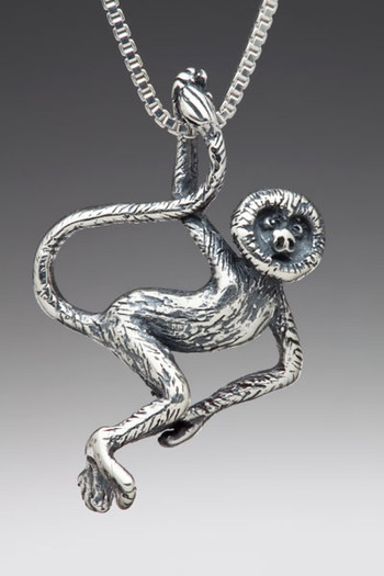 Rainforest Spider Monkey Charm - Silver
