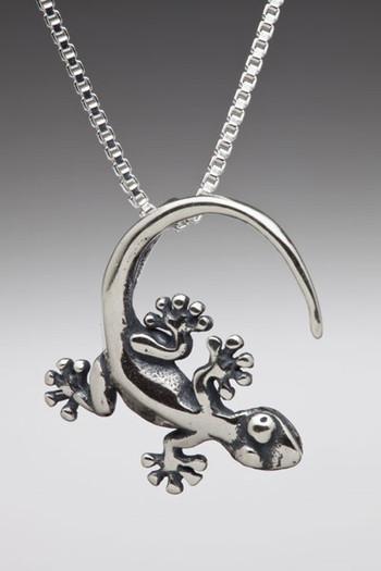 Rainforest Gecko Charm in Silver