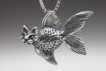 Large Catfish Pendant in Silver