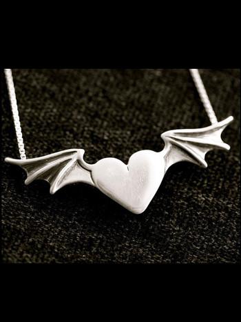 Hearts - Bat Winged Heart Pendant - Silver