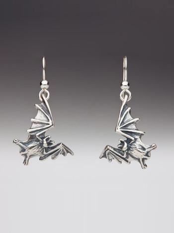 Bat Flight Earrings - Silver