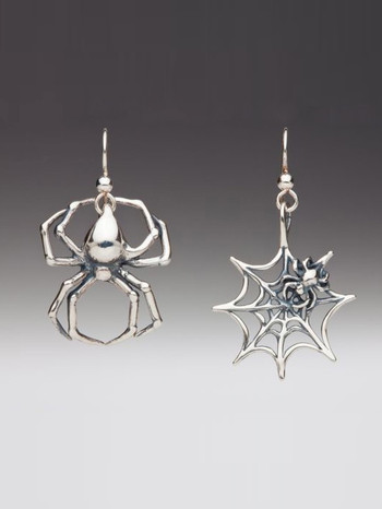 Large Spider and Spider Web Earrings - Silver