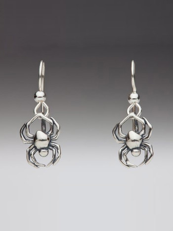 Small Spider Earrings - Silver