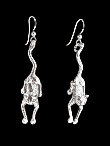 Crawling Cat Earrings - Silver