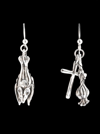Sleeping Bat Cross and Garlic Earrings - Silver