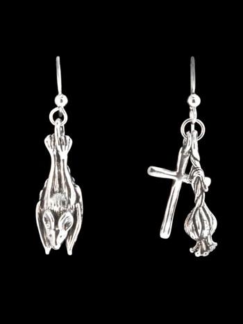 Sleeping Bat Cross and Garlic Earrings - Silver