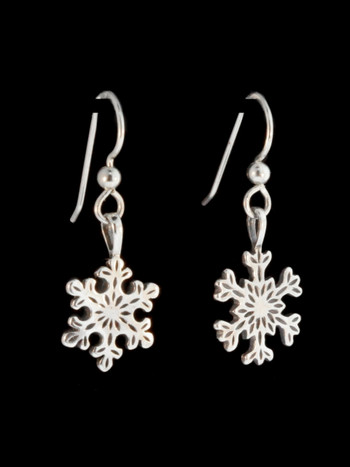 Christmas - Small Snowflake Earrings - Silver