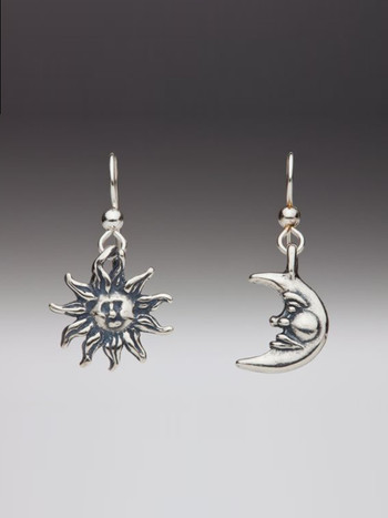 Sun and Moon Earring Set - Silver