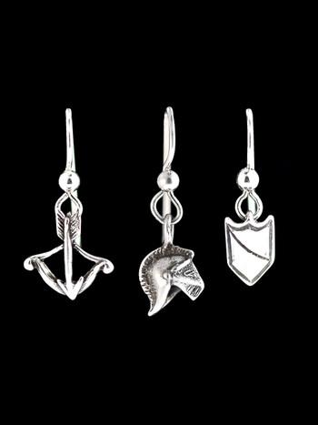 Knights Cross Bow- Helmet and Shield Earring Set