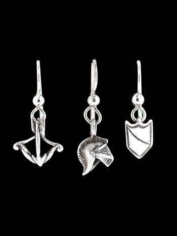 Knights Cross Bow- Helmet and Shield Earring Set