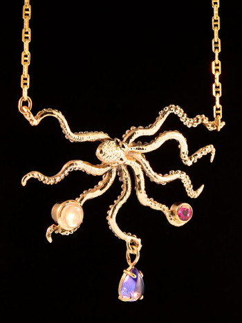 Octopus with Jeweled Treasure in 14k Gold