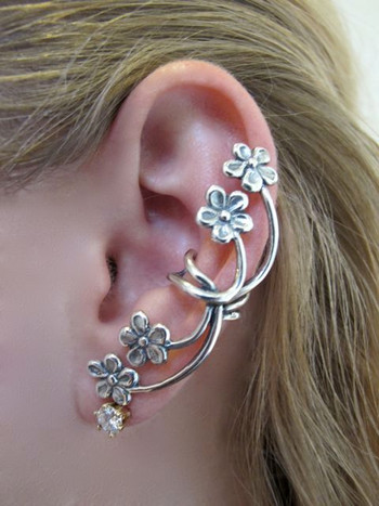 Forget Me Not Ear Cuff in Silver