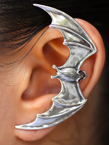 Bat Ear Wrap Cuff - Silver