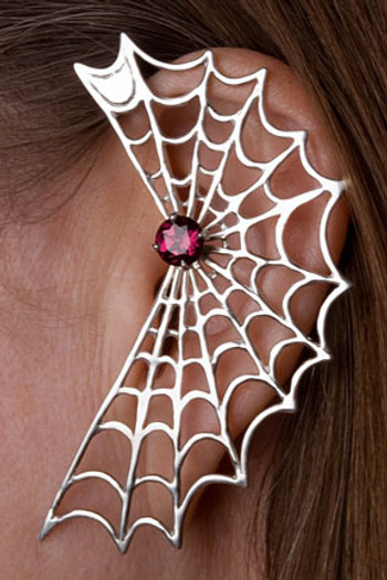 Spider Web Ear Wrap with Garnet Silver