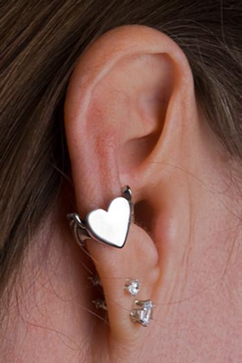 Bat Winged Heart Ear Cuff - Silver