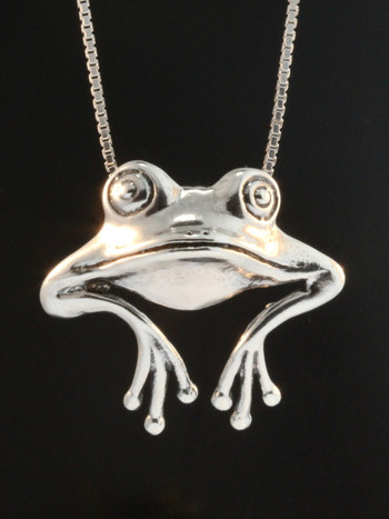 Frog - Good Luck Frog Pendant - Silver